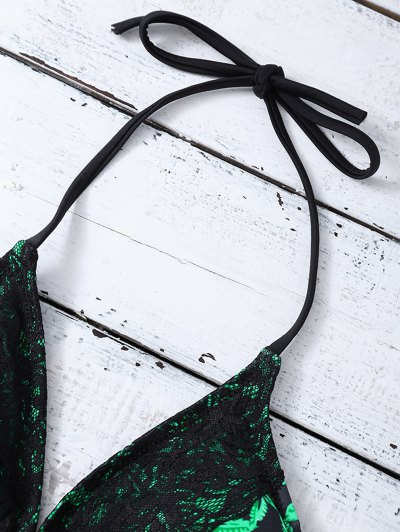 Leaf Print Lace Trim Bikini - BLACK AND GREEN L Mobile