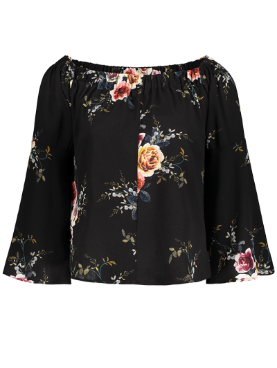 Floral Print Off The Shoulder Top - BLACK M Mobile
