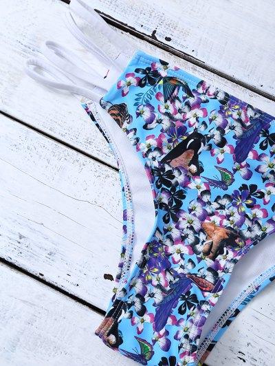 Strappy Lattice Tiny Floral Bikini - BLUE XL Mobile
