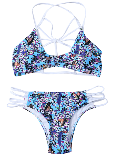 Strappy Lattice Tiny Floral Bikini - BLUE L Mobile