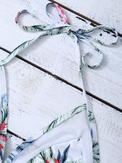 Mesh Insert Palm Leaf String Bikini - WHITE L Mobile