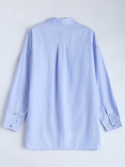 Uneven Hem Striped Miitary Patches Shirt - LIGHT BLUE L Mobile