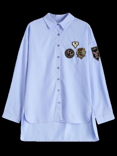 Uneven Hem Striped Miitary Patches Shirt - LIGHT BLUE S Mobile