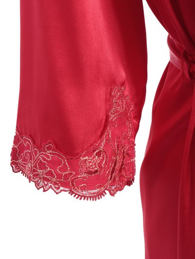 Faux Silk Outerwear and Slip Dress Loungewear - BRIGHT RED XL Mobile