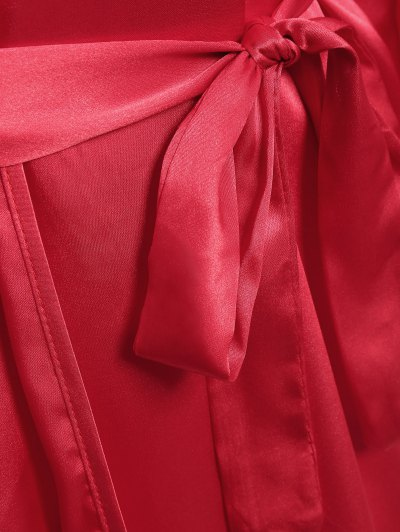 Faux Silk Outerwear and Slip Dress Loungewear - BRIGHT RED L Mobile