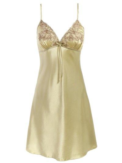 Faux Silk Outerwear and Slip Dress Loungewear - BLUISH YELLOW L Mobile