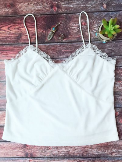 Lace Trim Velvet Camisole Top - WHITE S Mobile