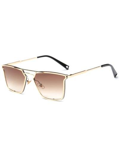 Irregular Double Rims Sunglasses - TEA-COLORED  Mobile