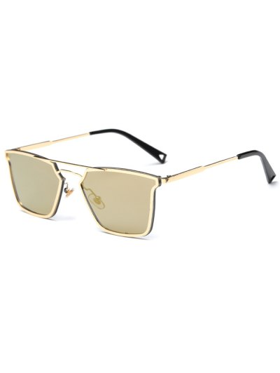 Irregular Double Rims Mirrored Sunglasses - GOLDEN  Mobile
