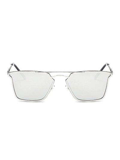 Irregular Double Rims Mirrored Sunglasses - SILVER  Mobile