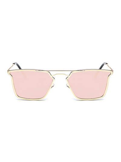 Irregular Double Rims Mirrored Sunglasses - PINK  Mobile