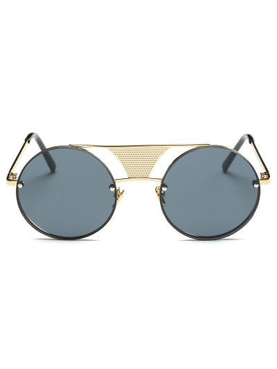 Openwork Mesh Insert Round Sunglasses - GOLDEN  Mobile