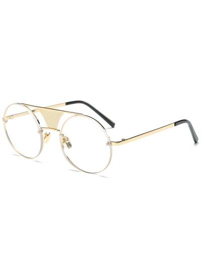 Openwork Mesh Transparent Lens Round Sunglasses - GOLDEN  Mobile