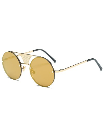 Openwork Mesh Mirrored Round Sunglasses - GOLDEN  Mobile