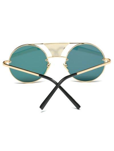 Openwork Mesh Mirrored Round Sunglasses - SHALLOW PINK  Mobile