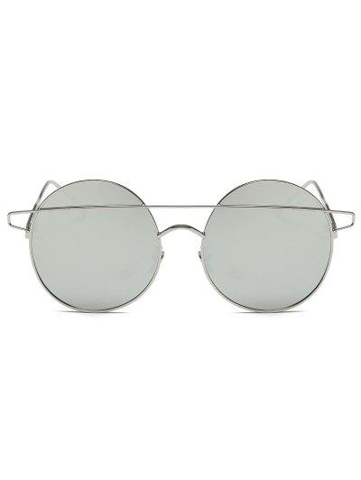 Crossover Mirrored Round Sunglasses - SILVER  Mobile