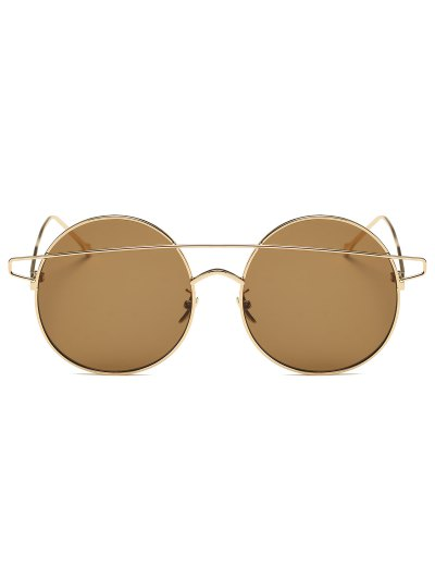 Crossover Mirrored Round Sunglasses - GOLDEN  Mobile