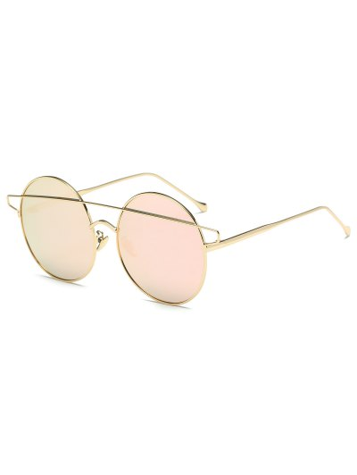 Crossover Mirrored Round Sunglasses - PINK  Mobile