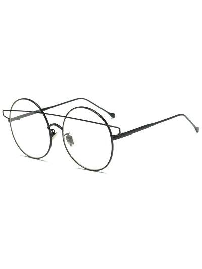 Transparent Lens Crossover Round Sunglasses - BLACK  Mobile