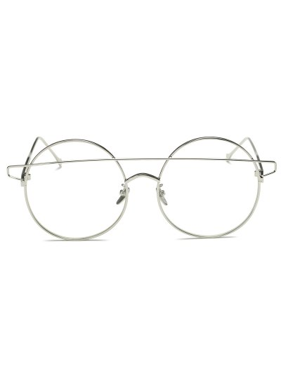 Transparent Lens Crossover Round Sunglasses - SILVER  Mobile