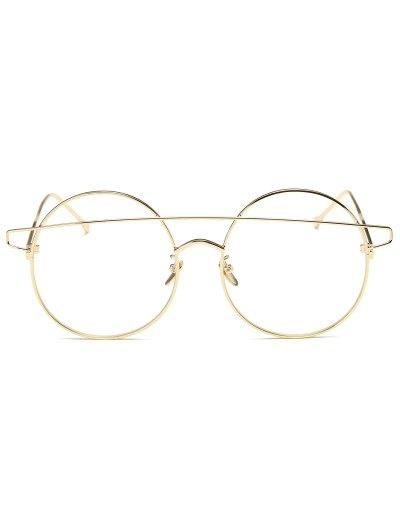 Transparent Lens Crossover Round Sunglasses - GOLDEN  Mobile