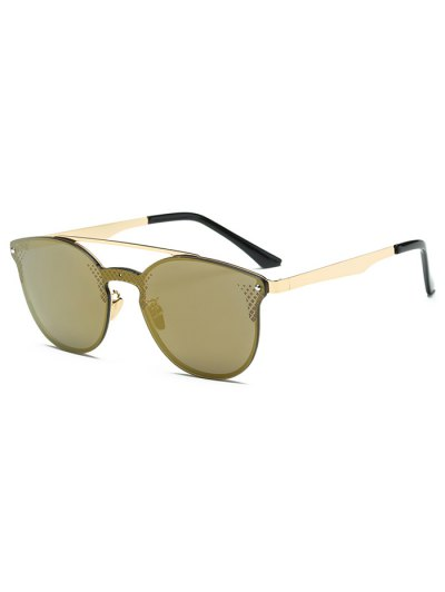 Rhombus Pattern Mirrored Butterfly Sunglasses - GOLDEN  Mobile