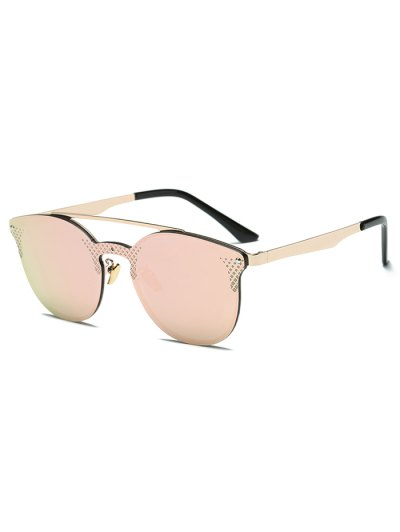 Rhombus Pattern Mirrored Butterfly Sunglasses - LIGHT PINK  Mobile