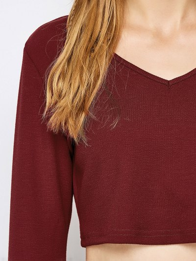 Bell Sleeve V Neck Crop Top - CLARET VIOLET M Mobile