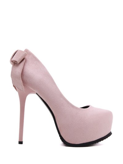 Platform Flock Bowknot Pumps - PINK 38 Mobile
