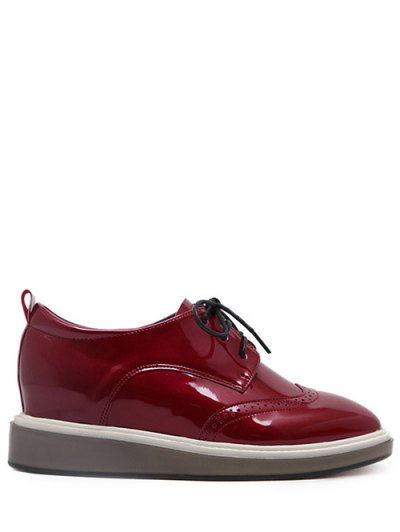 Lace Up Engraving Patent Leather Wedge Shoes - BURGUNDY 37 Mobile