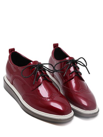 Lace Up Engraving Patent Leather Wedge Shoes - BURGUNDY 38 Mobile