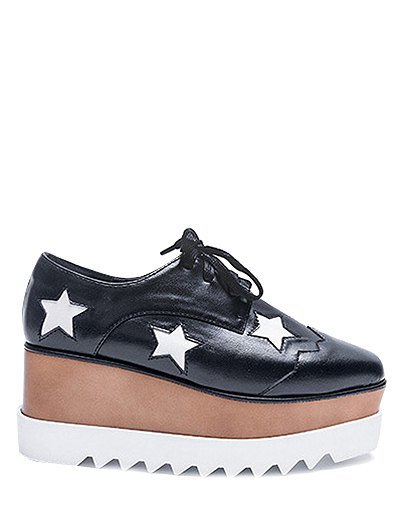 Square Toe Stars Tie Up Wedge Shoes - BLACK 38 Mobile