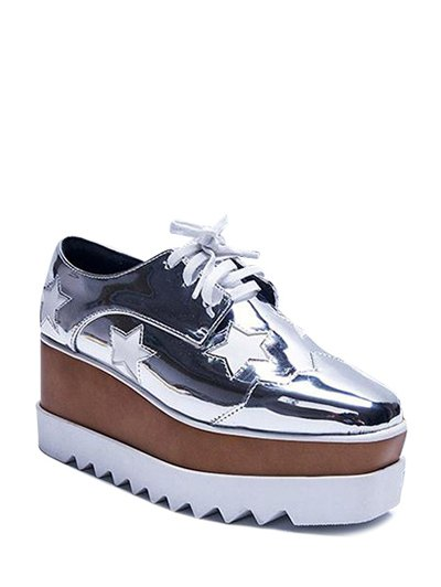 Square Toe Stars Tie Up Wedge Shoes - SILVER 37 Mobile