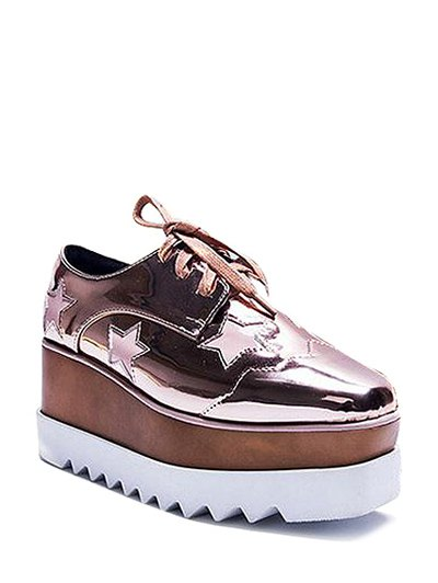 Square Toe Stars Tie Up Wedge Shoes - ROSE GOLD 38 Mobile