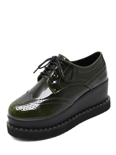 Tie Up Round Toe Wedge Wingtip Shoes - ARMY GREEN 39 Mobile