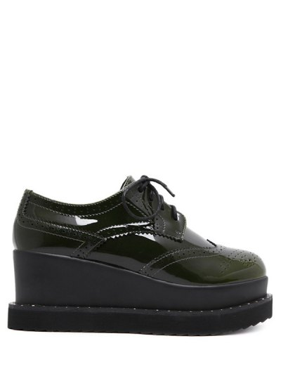 Tie Up Round Toe Wedge Wingtip Shoes - ARMY GREEN 37 Mobile