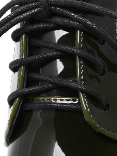 Tie Up Round Toe Wedge Wingtip Shoes - ARMY GREEN 38 Mobile