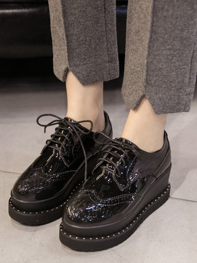 Tie Up Round Toe Wedge Wingtip Shoes - BLACK 37 Mobile