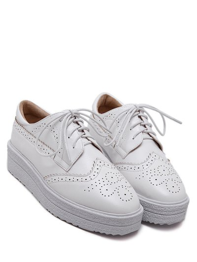 Faux Leather Wingtip Tie Up Platform Shoes - WHITE 38 Mobile