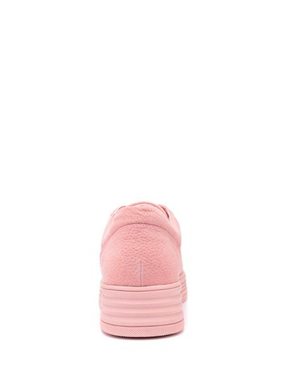 PU Leather Tie Up Round Toe Athletic Shoes - PINK 37 Mobile