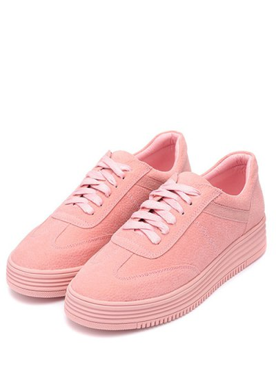 PU Leather Tie Up Round Toe Athletic Shoes - PINK 38 Mobile