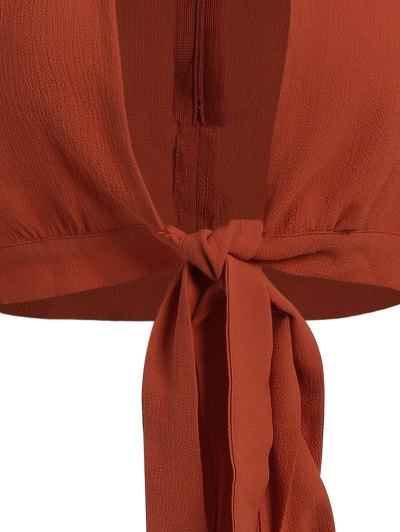 Front Knot Keyhole Plunge Crop Top - JACINTH M Mobile