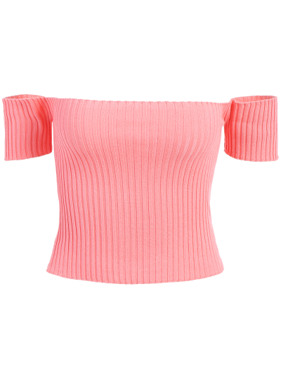 Off The Shoulder Rib Knit Crop Top - ORANGEPINK ONE SIZE Mobile