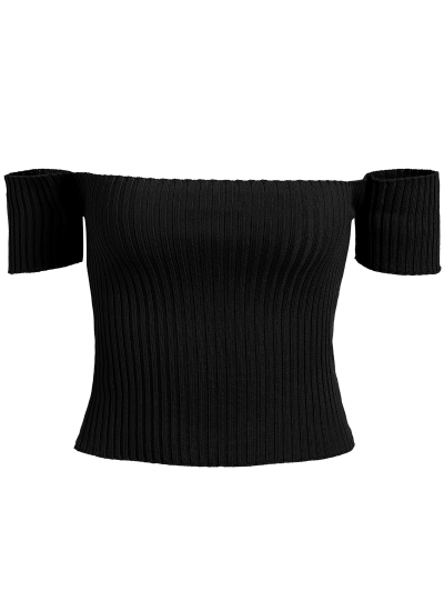 Off The Shoulder Rib Knit Crop Top - BLACK ONE SIZE Mobile
