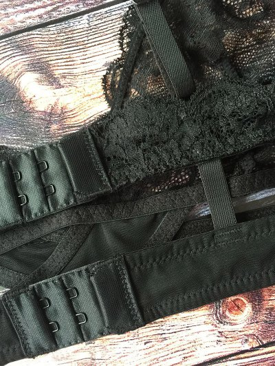 Crosscriss Lace Jacquard Bra - BLACK 2XL Mobile