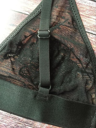 See-Through Floral Applique Bra - BLACK 2XL Mobile