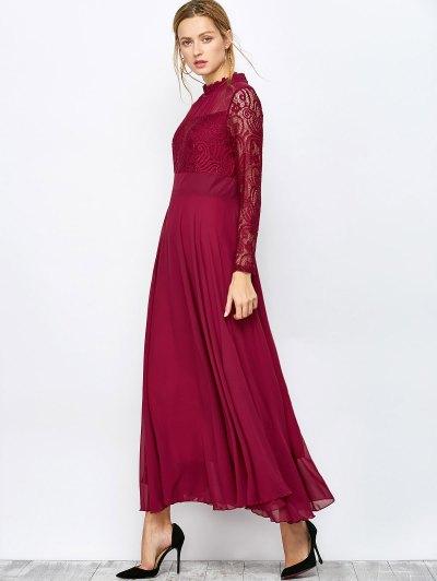 Lace Chiffon Ruffle Collar Evening Dress - BURGUNDY XL Mobile
