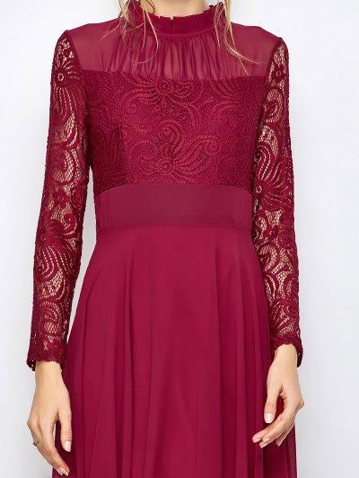 Lace Chiffon Ruffle Collar Evening Dress - BURGUNDY L Mobile