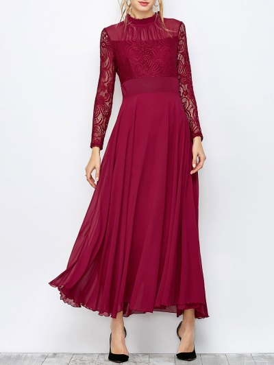 Lace Chiffon Ruffle Collar Evening Dress - BURGUNDY S Mobile