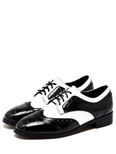 Lace Up Two Tone Wingtip Flat Shoes - WHITE AND BLACK 37 Mobile